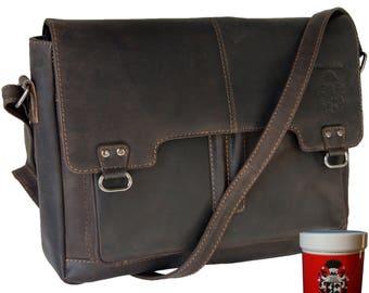 Shoulder briefcase BALBOA made of brown buffalo leather - BARON of MALTZAHN