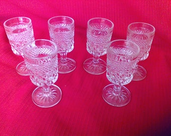 Wexford, Anchor Hocking, Glasses, wine glasses, set of 6, Vintage kitchen and bar