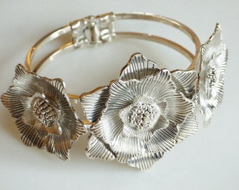 Vintage Flower Bracelet Silver Bangle Bracelet Silver Cuff Bracelet