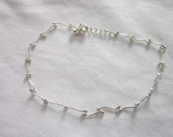 Vintage Silver Tone Odd Link Ankle Bracelet