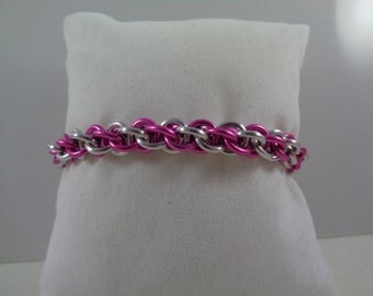 Pink and Silver Chainmail Bracelet, Jens Pind Chainmaille Bracelet, Chain Maille Bracelet, Chain Mail Bracelet