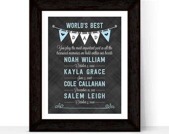 Christmas gift for husband | fathers day gift from kids, fathers day gift from wife, world's best dad wall art, kids birth dates