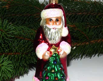 Vintage Christopher Radko Christmas Ornament Santa with Christmas Tree  Collectible RARE  RETIRED