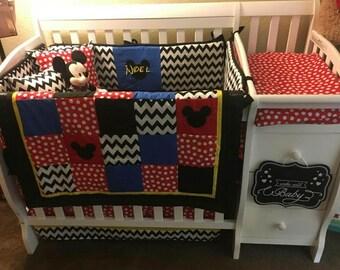 Mickey Mouse Crib Baby Bedding Red Dot Black Chevron
