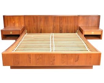ON SALE - Mid Century Teak Queen Bed w/ Floating Nightstands by D Scan - Danish Modern Teak Queen-size Platform Bed
