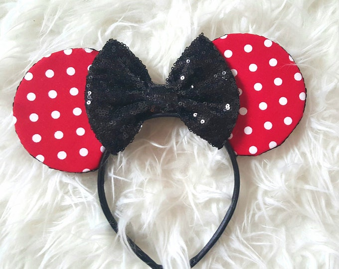 Mouse Ears || Minnie Ears || Polka Dot Mouse Ears|| Mouse Ears || Mouse Ears Headband  || Sparkle Mouse Ears || RTS