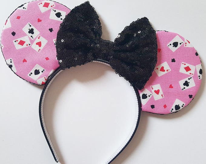 Queen of Hearts Mouse Ears || Mouse Ears || Alice in Wonderland Ears || Mouse Ears Headband || Red Queen Ears || Sparkle Mouse Ears || RTS