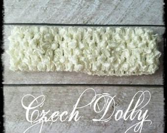 "Crochet Headband 1.5"" Cream / Off White"