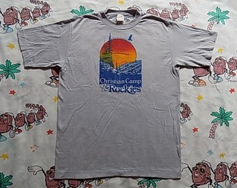 Vintage 80's Christian Camp Of The Rockies T shirt, size Small by Sportswear nature scene Rocky Mountains