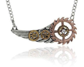 "New Fashion Steampunk Necklace Link Curb Chain Antique Silver Wing Gear Pendant With Clear Rhinestone - 25"" long"
