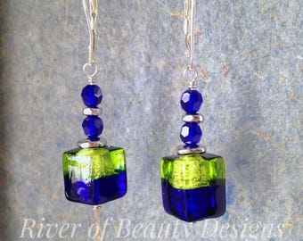 Two-Tone Murano Cube Earrings, Lime Cobalt Silver, Topaz Purple Gold, Swarovski Murano Leverback Earrings, River of Beauty Designs
