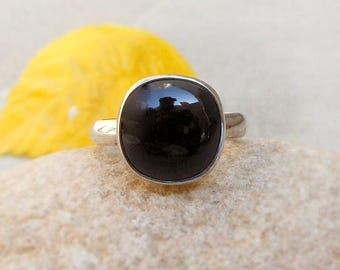 Black Onyx Ring Black Silver Ring Stackable Ring 925 Sterling Silver Ring Black Onyx Gemstone Ring Black stone ring size 4 5 6 7 8 9 10 11