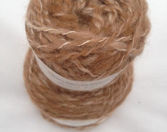 Handspun natural alpaca, Blue Faced Leicester and silk wool yarn, 130g