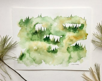 Green & Yellow Pine Landscape - Original Watercolor Painting