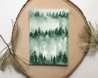 Misty Greens - Original Watercolor Painting