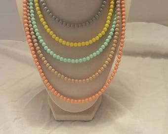 Pastel Multicolored Layered Necklace Multicolored Necklace Layered Necklace Easter Necklace Pastel Necklace Adjustable Necklace Great Gift
