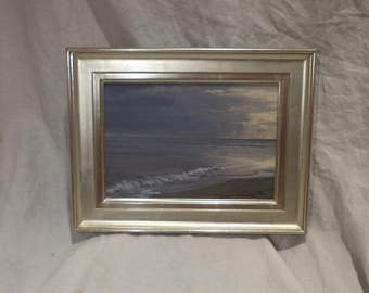 Original Signed Oil Painting, Seascape, Seashore Beach, Vintage Oil on Canvas and Framed