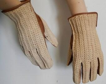 Brown Leather & Textile Vintage 1960s Gloves