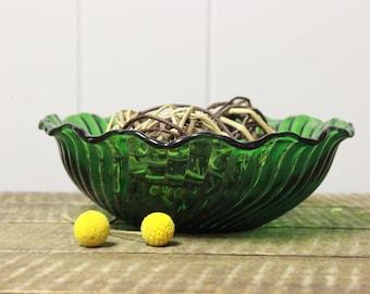 Green Glass Swirl Bowl