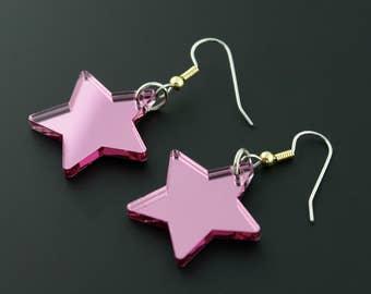 Pink Mirror Star Rockstar Superhero Jem and the Hologram Inspired Earrings