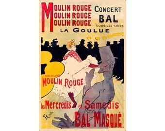 Moulin Rouge La Goulue Henri de Toulouse Lautrec Poster New Reproduction Art Print 320