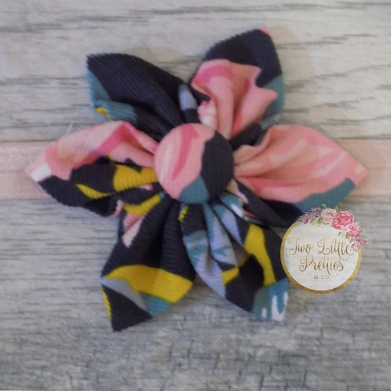 Large Floral Fabric Flower Headband | Baby Girl | Hand Sewn