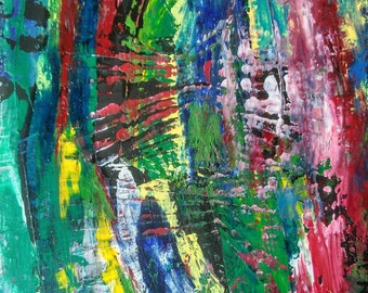 """Abstract colorful acrylic painting on canvas 12*16"""""""