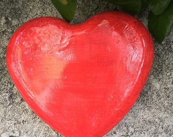 Handcrafted red heart wall hanging/ Indoor/outdoor/patio/home/planter/paperweight/memorial garden/Valentine's Day/child room/wedding