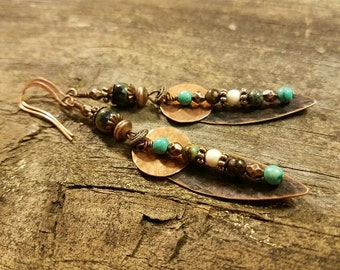Metal Earrings, Handmade Earrings, Copper Earrings, Boho Earrings, Dangle Earrings, Drop Earrings