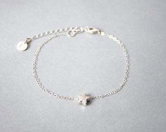 Handmade Sterling Silver Star Chain Bracelet, Custom letter initials on silver