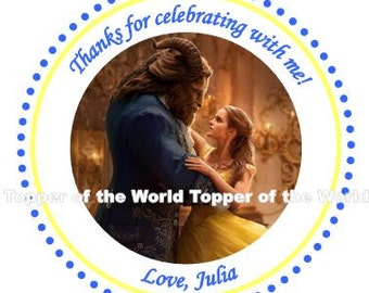 12 Personalized Beauty and the Beast 2017 Princess New Disney Birthday Party Favor Thank You Tags or Stickers