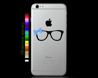 Nerd Glasses with Bow Phone Decal
