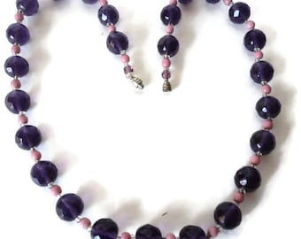 Vintage Purple And Pink Glass Bead Necklace