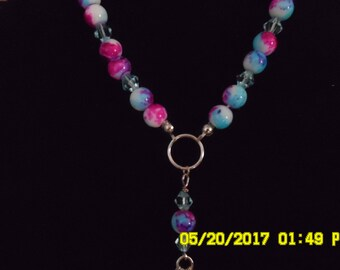 Painted Bead and Crystal Necklace