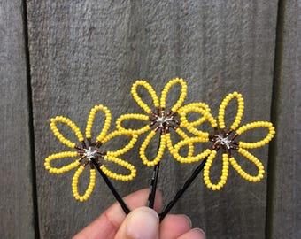 Sunflower Hair Pin, Yellow Bobby Pin, Yellow Flower Pin, Sunflower Wedding Accessory, Beaded Hair Pin, Beaded Sunflower Hair Clip