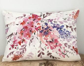 Watercolour Floral 13x18 Pillow, Unique Watercolor Pillow Cover, Decorative Linen Cushion Cover, Handmade Throw Pillow Case, handmade pillow