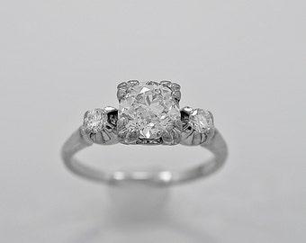 Antique Engagement Ring 1.33ct. Diamond & Palladium Art Deco - J36171