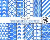 50% OFF Seamless Watercolor Geometrics in Cobalt Blue Colors Digital Paper Set - Personal & Commercial Use