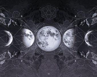 ESBAT - Long rayon fabric scarf - Moon phases