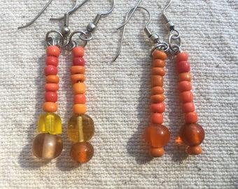Orange Beaded Earrings