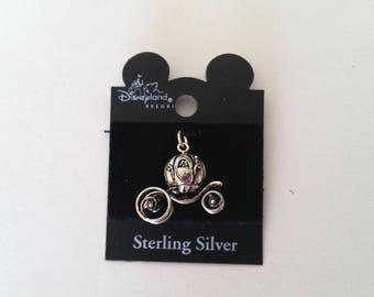 Sterling Silver Charm Cinderella's Coach Vintage Disneyana Pendant Necklace Jewelry