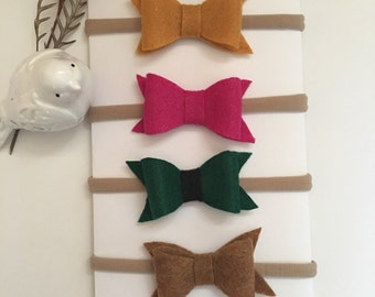 Handmade! Baby Girl Felt bow Nylon Headbands !