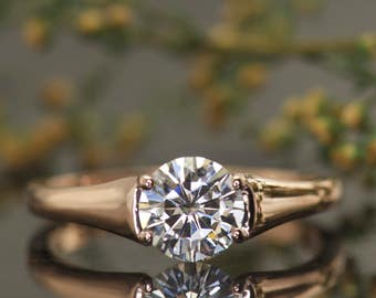 1ct Forever One Moissanite Engagement Ring in Rose Gold, Solitaire Setting with Low Profile, Classic Design Hayden