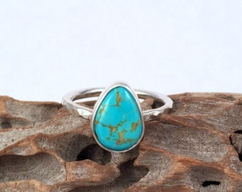Sterling Silver Ring, Turquoise Ring, Natural Turquoise, Silver Ring, Silver Band Ring, Turquoise Jewelry, Blue Stone Ring, Gemstone Ring