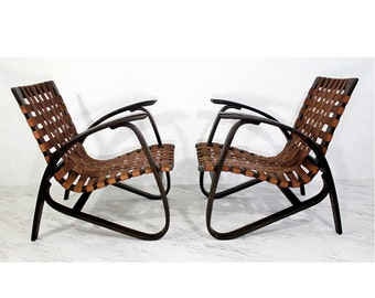 Mid Century Modern Jan Vanek Pair of Bentwood Easy Arm Chairs Woven Straps