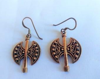 Vintage Celtic Earrings / Copper Earrings / Hatchet Earrings / Medieval Earrings / Celtic Jewelry / Copper Jewelry / Copper Items