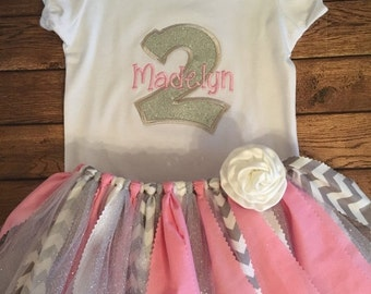 Pink and Silver Birthday Scrap Fabric Tutu Outfit