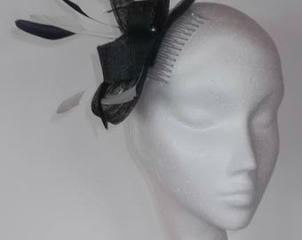 Navy and white feather fascinator, wedding/day at the races.  Made in Scotland UK