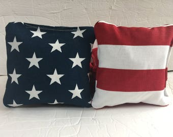 Stars Stripes Cornhole Bags, Patriotic corn hole bags, USA Flag bean bags, Custom cornhole bags, Backyard games, American Flag Cornhole