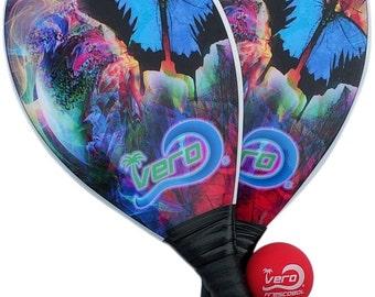 Frescobol Borboleta Tropical Fiberglass Beach Paddle Kit